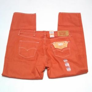 Levi's 501 Shrink To Fit Raw Denim Jeans Coral